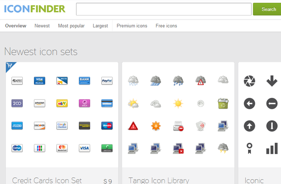 icon finder homepage 2013 screenshot web design freebies
