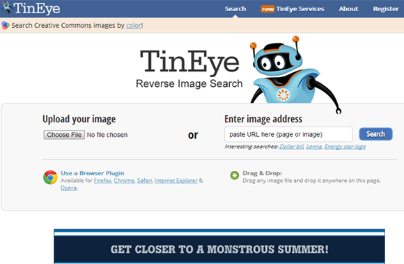 TinEye reverse image search homepage 2013 screens